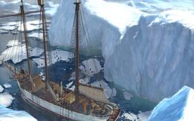Обои холод, корабль, арт, льды, льдины, ran pota