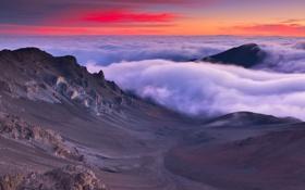 Картинка горы, туман, Hawaii, Maui, View from Haleakalā