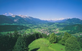 Обои долина, небо, городок, Виндишгарстен, поселок, деревья, дома