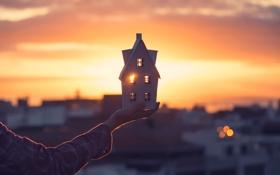 Картинка домик, солнечный свет, My little house