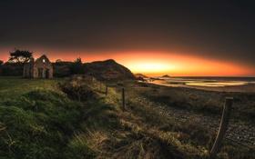 Картинка поле, пляж, небо, трава, восход, забор, островок