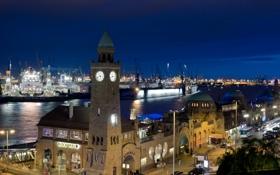 Картинка фото, Дома, Ночь, Город, Германия, Hamburg