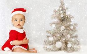 Обои детство, новый год, ребенок, рождество, christmas, new year, custom
