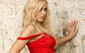 Обои взгляд, стена, блондинка, плечо