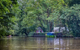 Обои река, лодка, Деревья