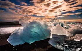 Обои закат, лёд, Исландия, Iceland
