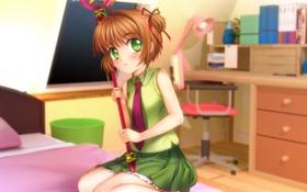 Обои Девушка, Взгляд, Кровать, Card Captor Sakura, Румянец, Kinomoto Sakura, Mutsuki (Moonknives)
