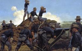 Картинка война, солдаты, пушка, кавбои, Artillery, Utah Light