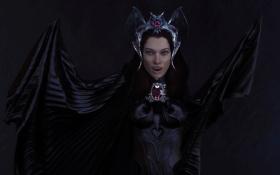 Обои рендеринг, Девушка, корона, клыки, вампир, летучая мышь, плащ