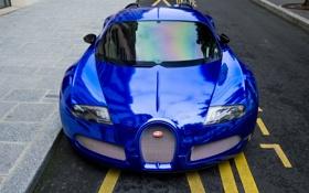 Обои синий, передок, Chrome, гиперкар, Bugatti, вейрон, Blue