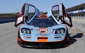 Картинка фон, McLaren, двери, GTR, суперкар, болид, передок