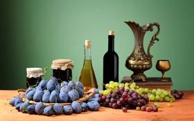 Обои виноград, фрукты, натюрморт, сливы, варенье