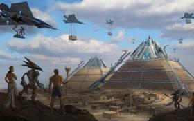 Обои стройка, сооружение, арт, самолеты, пирамиды, пришельцы, египет