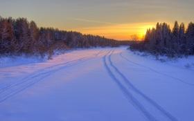 Картинка зима, дорога, лес, снег, восход, утро