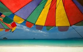 Обои море, пляж, лето, небо, солнце, свет, природа
