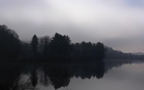 Картинка осень, деревья, природа, туман, река