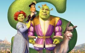 Картинка Шрек, Shrek, Шрэк Третий, Shrek the Third, мультфильм, корона, Puss in Boots