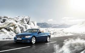 Картинка бмв, дорога, зима, снег, скорость, кабриолет