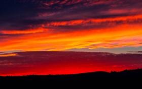 Картинка небо, облака, закат, холмы, горизонт, зарево