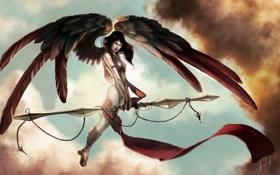 Картинка девушка, тучи, крылья, ангел, фэнтези, арт, цепь