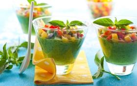 Обои ложка, стаканы, фрукты, овощи, фреш, салфетки