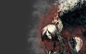Обои кровь, крылья, девочка, киборг, метал