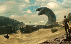 Картинка горы, фантастика, скалы, пустыня, арт, dune, червь