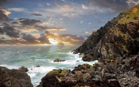 Картинка море, небо, облака, закат, птицы, камни, берег