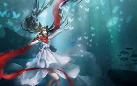 Картинка Девушка, наушники, шарф, бабочки, белое платье, красный