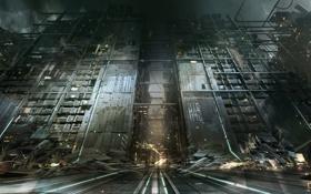 Обои город, concept, art, вход, deus ex, Deus Ex: Mankind Divided, golem city