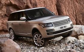Обои скала, камни, фон, серебристый, джип, внедорожник, Land Rover