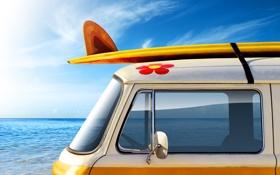 Картинка море, авто, лето, небо, вода, машины, настроение