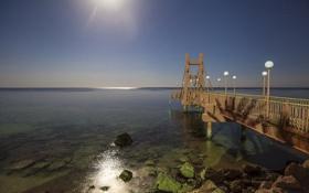 Обои луна, египет, красное море