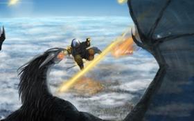 Обои небо, фантастика, дракон, крылья, арт, человек. оружие