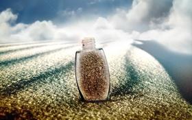 Картинка песок, облака, стеклянный, луч, флакон