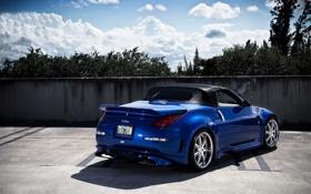 Обои синий, тюнинг, родстер, Nissan 350Z, ниссан