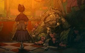 Обои металл, игрушки, арт, костюм, девочка, Bioshock