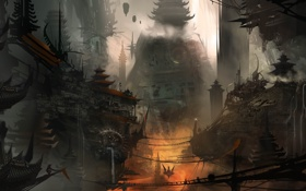 Обои город, будущее, провода, азия, дым, здания, водопад