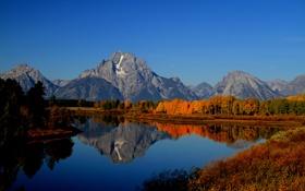 Картинка осень, лес, небо, закат, горы, река