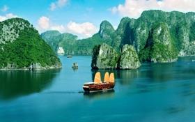 Обои побережье, Вьетнам, panorama, Vietnam, залив Ха Лонг, прогулочная джонка, Ha long bay