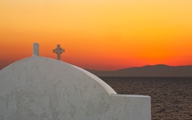 Обои море, небо, закат, горы, остров, Греция, церковь