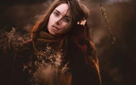 Картинка весна, Jesse, природа, шарф, боке, портрет