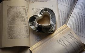 Обои сердце, книги, кофе, кружка, страницы