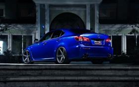 Картинка ночь, синий, дом, ступеньки, лексус, Lexus IS
