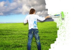 Обои поле, небо, трава, облака, брызги, креатив, краска
