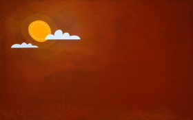 Обои солнце, облака, обои, минимализм, арт