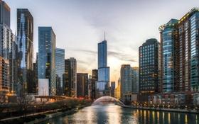 Обои Вечер, Река, Чикаго, Небоскребы, Здания, Америка, Иллинойс