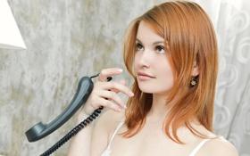 Картинка трубка, девушка, рыжая, телефон, violla