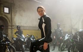 Обои Ilsa, костюм, Rebecca Ferguson, Миссия невыполнима: Племя изгоев, Mission: Impossible - Rogue Nation, мотоциклы, байкеры