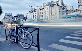 Картинка дорога, велосипед, город, огни, движение, транспорт, улица